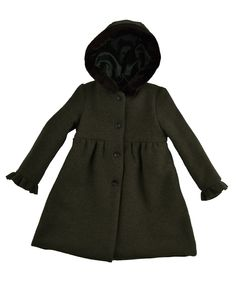 Stylish, graceful and fashionable hooded coat from pure virgin wool from La stupenderia in marled deep richen green