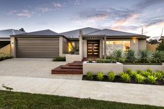 Glen Iris, The Riverlea Display from Aveling Homes Front House Landscaping, Modern Landscaping, Landscaping Retaining Walls, Concrete Driveways, Yard Landscaping, Landscaping Ideas, Modern Front Yard, Front Yard Design, Modern Landscape Design