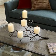 Branch Brass Pillar Candle Holder | Crate and Barrel