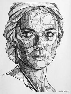 Geometric Face Drawing Of Rebecca Ferguson - Geometric Face Drawing Geometric Face Drawing Of Rebecc Cool Art Drawings, Pencil Art Drawings, Art Drawings Sketches, Drawing Drawing, Drawing Faces, Interesting Drawings, Drawing Tips, Figure Drawing, Geometric Face