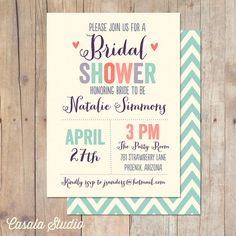 Spring Mint & Lilac Bridal Shower Invitation Baby Shower Invite Printable OR Printed Card via Etsy