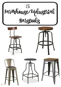 Farmhouse Industrial Barstools from Target! Target Farmhouse, Farmhouse Stools, Kitchen Stools, Industrial Farmhouse, Farmhouse Chic, Farmhouse Design, Farmhouse Ideas, Industrial Bar Stools, Industrial Office