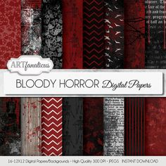 Halloween digital papers BLOODY HORROR Bloody by Artfanaticus My backgrounds, textures, digital paper and clip art can be used for just about any project. Add some additional artistic style to your photo albums, photography projects, photographs, scrapbooking, weddings, invitations, greeting cards, gift wrap, labels, stickers, tags, signs, business cards, websites, blogs, party decor, jewelry & more. For more digital papers, please visit Artfanaticus at: http://artfanaticus.etsy.com