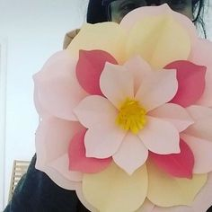 New paper flower in bloom ❤️ Two-tone pink large paper flower with pointy petals. Visit www.monicabadiu.com/diy-blog for more. #mymakingstory #papercreations