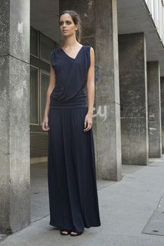 Long Greek style folds and draped decorated maxi dress from very comfortable jersey.