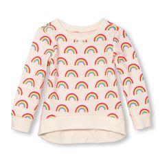 Girls Active Long Sleeve Rainbow Print Sweatshirt