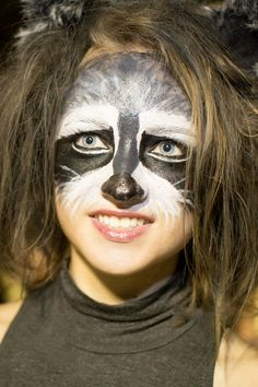 raccoon face paint, Halloween costume, raccoon costume