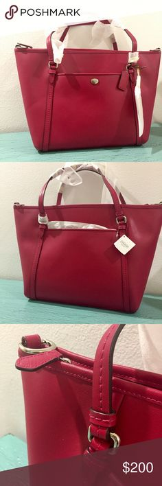 "NWT: Coach Large Red Tote Coach Large Peyton leather pocket tote, Red. Saffiano leather, zip top closure. Fabric lining. Cellphone and multi function pockets. Outside open pockets. Shoulder or crossbody capable. Gold tone hardware. Coach leather tag. Handles are a 9"" drop, 11W x 12.5 H x 5"" D Sells no because I expected the color to be more wine and less cherry red. Disappointed because it's a great bag! Still wrapped. Coach Bags"