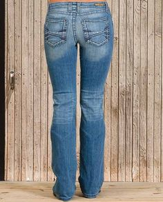 Rock 47 Women's Medium Wash Boot Cut Jeans These jeans sit at the hip and feature a stretchy denim that contours to your curves. They are lightly whiskered and faded and offer a boot cut leg. They have heavy top-stitching along the hip seam and otherwise dark seam stitching that provides an understated quality.  | gift idea for women ladies western wear casual clothing for ladies cold weather winter layering basics essentials Casual Outfits for women Country Chic #countrygirl #CountryFashion