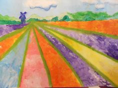 how to - paint Bollenveld (tulip fields)