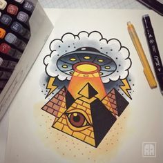 old school ufo tattoo - Pesquisa Google