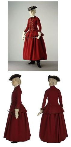 Riding Habit, 1770-1775. England. Wool, linen, glazed wool and silver braid, hand-sewn.