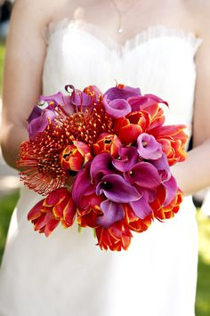 Locally Grown Weddings » Urban Picnic in the San Francisco Mission District  Bright, modern bouquet. Pink, purple, red