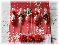 Mini MatchbookDecorative  Stick Pins Love for Scrapbooking or Cardmaking, Mini Albums, Tags