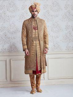 Shop Jute beige wedding wear designer sherwani online from India. Sherwani For Men Wedding, Wedding Dresses Men Indian, Wedding Outfits For Groom, Sherwani Groom, Mens Sherwani, Wedding Dress Men, Punjabi Wedding, Wedding Couples, Mens Wedding Wear Indian