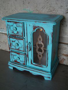 Turquoise Distressed Jewelry Box  $39 #shabbychic #upcycled #gift