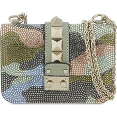 VALENTINO Crystal camouflage Rockstud small shoulder bag ($2,490) ❤ liked on Polyvore featuring bags, handbags, shoulder bags, camo multi, shoulder strap purses, camouflage shoulder bag, camouflage purse, shoulder bag purse and crystal handbags