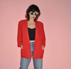 Vintage 80s Red Linen Shoulder Pad Career Blazer M