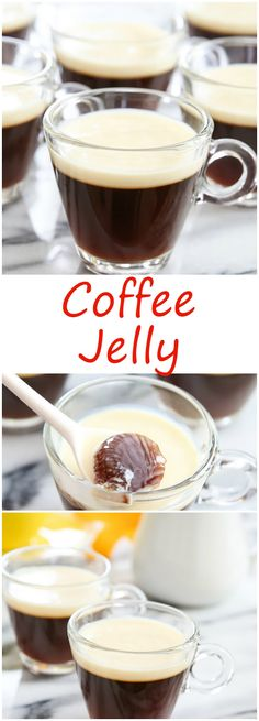 Used t decaffe grounds to approx water Dissolved 2 heaped t gelatine in water Used cup sugar. Serve with ice cream NEXT TIME More coffee, less sugar (weak and sweet today), prob gelatine to total Jelly Desserts, Sweet Desserts, Sweet Recipes, Chocolates, Jello Recipes, Dessert Recipes, Gelatin Recipes, Agar, Kitchen