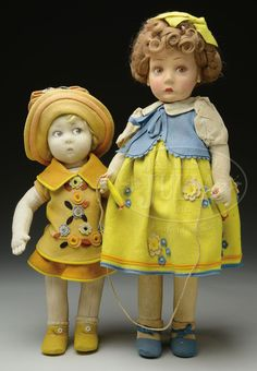TWO LENCI GIRL DOLLS.