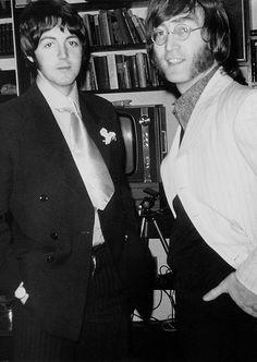 Paul McCartney & John Lennon photographed at 7 Cavendish Avenue, London in 1968.