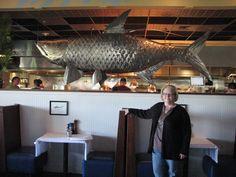 A giant metal fish at Big Fish Grill