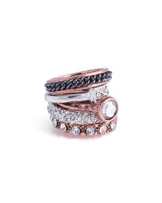 love the mixed bling on this stacking ring set