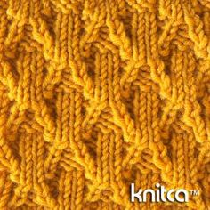 Cable 12 : www.knitca.com - Beautiful stitch with beautiful texture. Mostly it is made with knit and purl stitches with occasional 2 stitch cables (also called twists). This stitch looks nice on both sides, and that makes it perfect for scarves, wraps or blankets. Its texture will show off on a hat, sweater or a pair of socks.