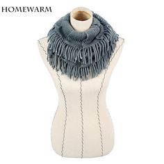 Womens Winter Warm Knitted Layered Fringe Tassel Neck Circle Shawl Snood Scarf Cowl