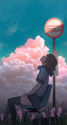 Anime Girl Headphones Headup Bus Stop Mobile Wallpaper (iPhone, Android, Samsung, Pixel, Xiaomi) Anime Girl Cute, Anime Art Girl, Manga Art, Manga Anime, Anime Girls, Anime Scenery Wallpaper, Anime Artwork, Of Wallpaper, Mobile Wallpaper
