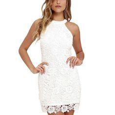 White Halter Lace Party Dress
