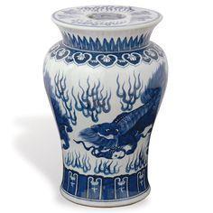 Chow Blue & White Porcelain Garden Stool