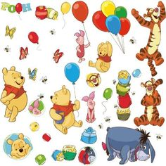 Nursery Wall Decals: RoomMates RMK1498SCS Pooh and Friends Peel & Stick Wall Decal by RoomMates. ............ Get Wall Decals at Amazon from Wall Decals Quotes Store