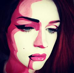 It took me 30 seconds of admiring this to figure out, this isn't a pop art painting.  No, this is a picture of a makeup artist who gave herself a popart makeover. Flipped my top when i figured out this was a real person. Incredible. By @ssssamanthaa on Instagram. #artist #makeup #art #popart #makeupartist