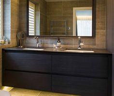 Bespoke fitted bathroom vanity cabinet with oak veneer finish. His and hers sinks