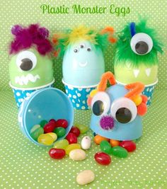 Monster Eggs - How cute are these for BOYS for easter!!! such an easy diy, would even work for a monster birthday party! www.spaceshipsandlaserbeams.com