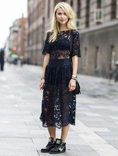 vestido preto renda