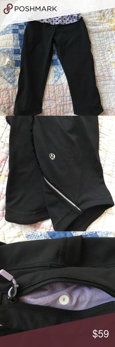 "Lululemon running tights  - 16"" black sz 8 Lululemon running tights - black with ruffle trim. Capri length. Worn 5x - I cut tag out but you can clearly see logo on leg. 16"" inseam. Sz. 8 lululemon athletica Pants Leggings"