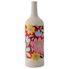 garrafa de ceramica pintada Mosaic Bottles, Painted Glass Bottles, Glass Bottle Crafts, Wine Bottle Art, Diy Bottle, Glass Painting Designs, Pottery Painting Designs, Art N Craft, Diy Art