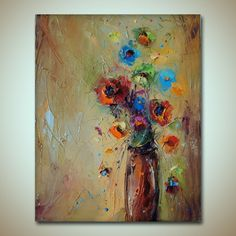 Flowers oil painting - Fine Art by Stanislav Lazarov Tittle: colorful fantasy   Style: Modern & expressionism & Palette Knife Materials: Quality oil paint on canvas The picture is on canvas on...