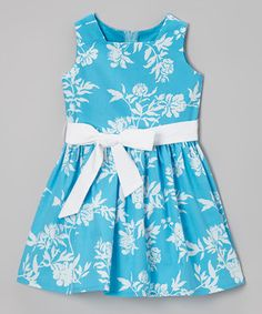 Another great find on #zulily! Turquoise Floral A-Line Dress - Infant, Toddler & Girls by Dreaming Kids #zulilyfinds