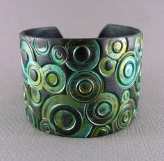 Silver Cuff Bracelet Polymer Clay Verdigris Patina Teal Cuff Turquoise Cuff Urban Industrial Wide Cuff Hand Stamped Art Jewelry