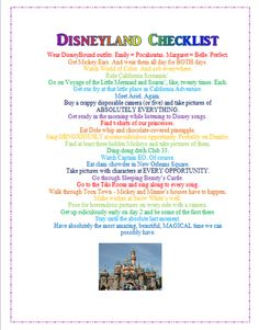 Disneyland Checklist. Must do some of these things.