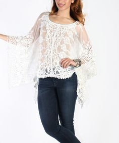 Another great find on #zulily! White Sheer Crochet-Accent Cape-Sleeve Top by Shoreline #zulilyfinds