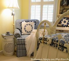 Updates for a Blue and White Guest Room   http://betweennapsontheporch.net/updates-for-a-blue-and-white-guest-room/