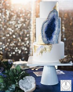 The work of cake-master Rachel, of Intricate Icings, this geode cake is made completely out of edible sugar for the First Look Events at Moss Denver.