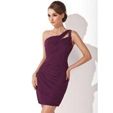 [US$ 116.49] Sheath One-Shoulder Short/Mini Chiffon Cocktail Dress With Ruffle Beading (016008418)