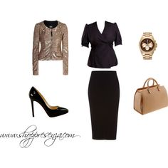 Sophisticated Diva, created by shoppresenza on Polyvore    Rock all black but still look feminine with a sparkly blazer or jacket!  www.shoppresenza.com  $98