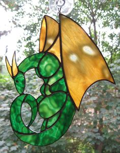 Green Curly Dragon Stained Glass Suncatcher