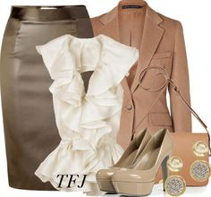 Great skirt suit with a little edge. Pieces are neutral-colored, good for mixing and matching.